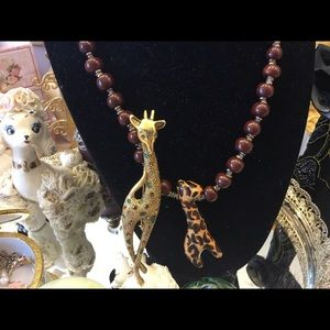 Giraffe Necklace and large Giraffe brooch ,